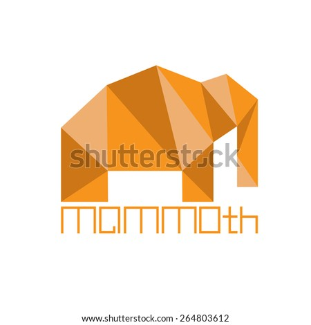 mammoth in polygon style - stock vector