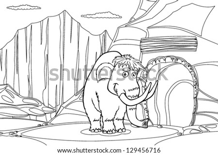 Mammoth near cave in the ice rock, black and white illustration - stock vector