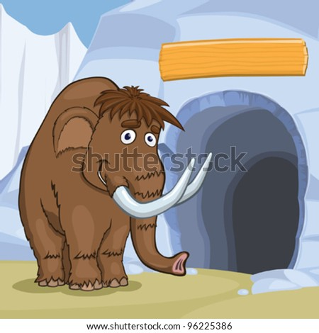 Mammoth near cave in the ice rock, eps10 vector illustration - stock vector