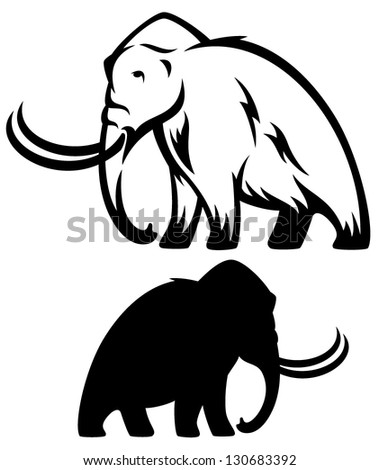 mammoth vector illustration - prehistoric elephant black and white outline and silhouette - stock vector