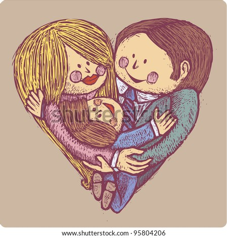Mammy, daddy and son in a heart shape family composition in engrave style - stock vector