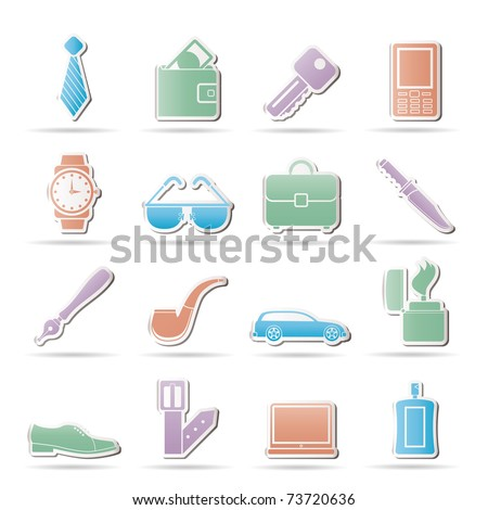 man Accessories icons and objects- vector illustration