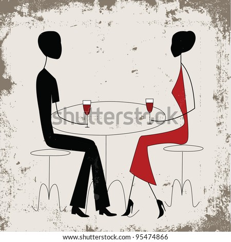 Man ad woman in a restaurant, vintage style - stock vector