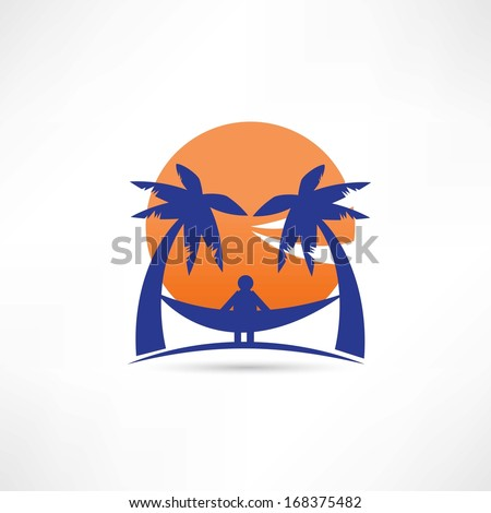 man among the palms icon - stock vector