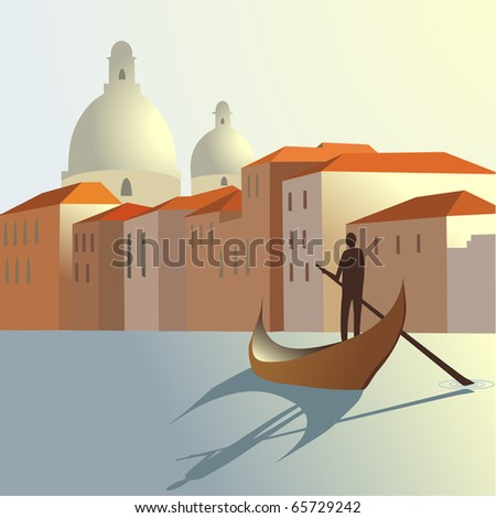 man and boat on town background - stock vector