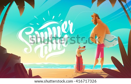 Man And Dog On Beach. Summer Moment.   - stock vector