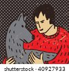Man and dog The man is hugging the big beautiful dog. Color vector textured illustration. - stock vector