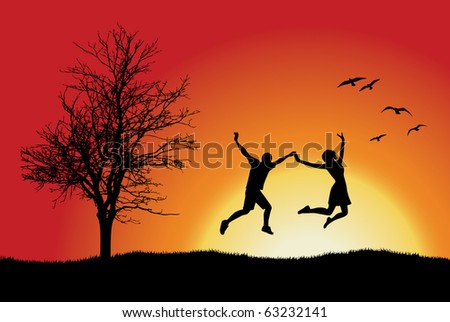 man and girl holding for hands and jumping on hill near bare tree, orange background - stock vector