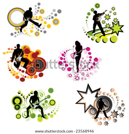 man and girl, music element, vector - stock vector