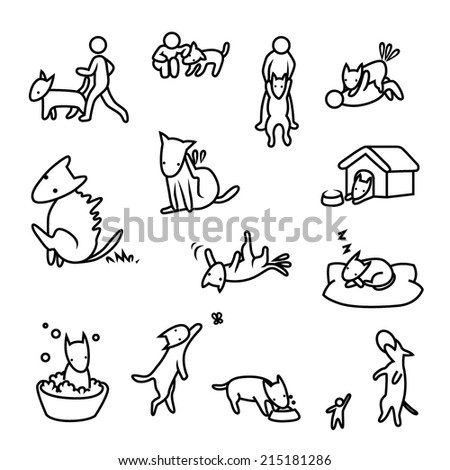 Man and his dog. - stock vector