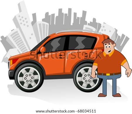 Man and orange utility vehicle with city on background - stock vector