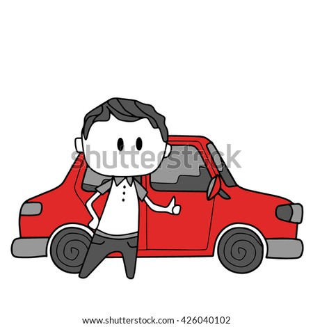 Man and red car