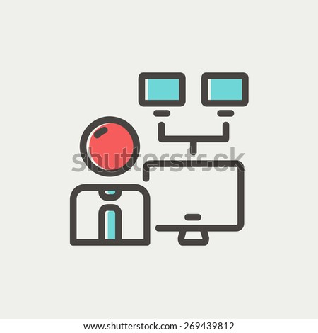 Man and screen cameras icon thin line for web and mobile, modern minimalistic flat design. Vector icon with dark grey outline and offset colour on light grey background. - stock vector