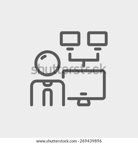 Man and screen with cameras icon thin line for web and mobile, modern minimalistic flat design. Vector dark grey icon on light grey background. - stock vector