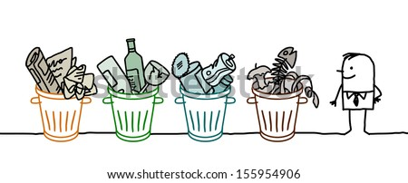 man and selective sorted garbage - stock vector