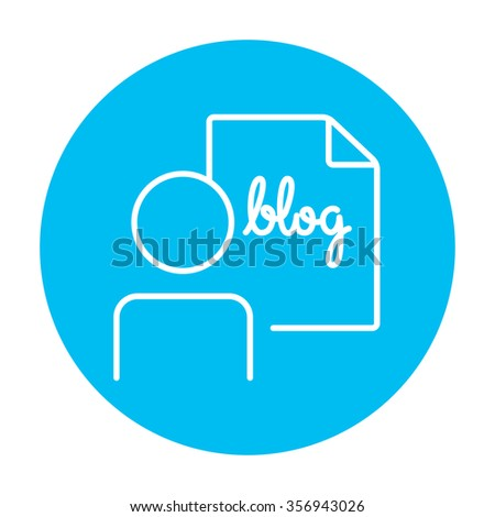 Man and sheet with word blog line icon for web, mobile and infographics. Vector white icon on the light blue circle isolated on white background. - stock vector