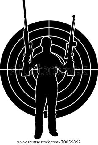 man and target. stencil. vector illustration - stock vector