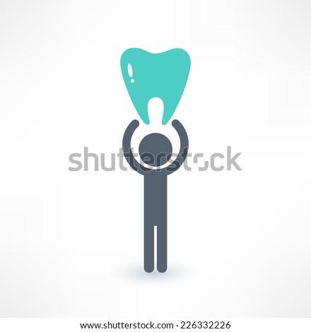 Man and tooth icon. Medical concept. Logo design. - stock vector