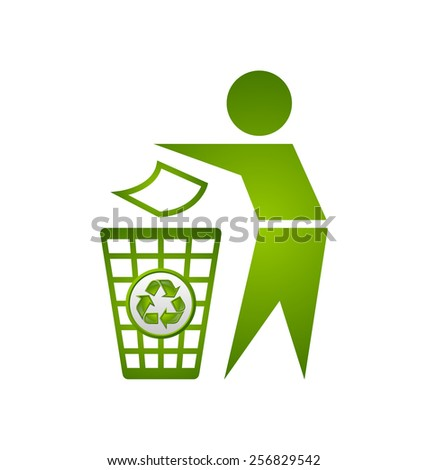 Man and trash bin with recycle icon isolated on white background