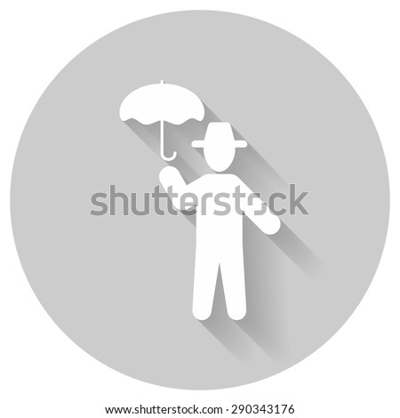 Man and umbrella icon with shadow, isolated white on gray background, people vector symbol - stock vector