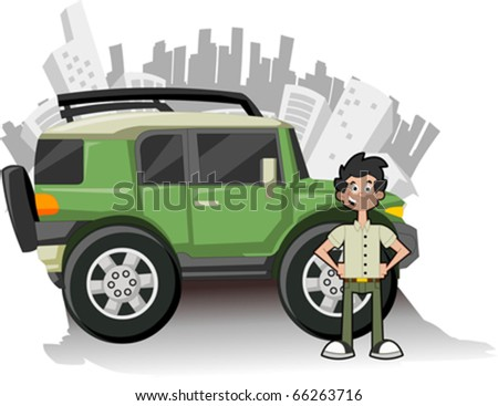 Man and utility vehicle with city on background - stock vector