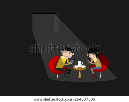 man and woman are using smartphone during dating - stock vector