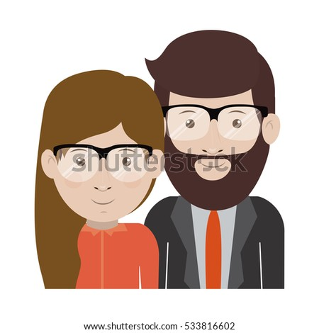 Man and woman cartoon with glasses design