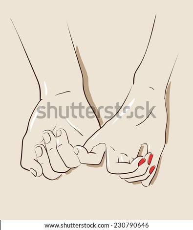 Man and woman couple holding hands. Vector illustration eps 10 - stock vector
