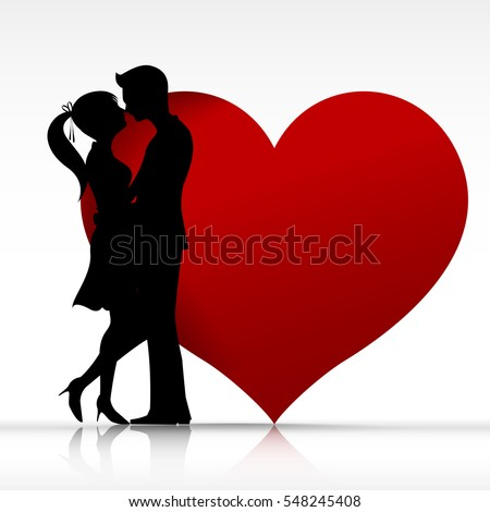 stock vector man and woman couple kissing with love silhouette design element for valentine day and wedding card 548245408 Where to Meet Females From Spain