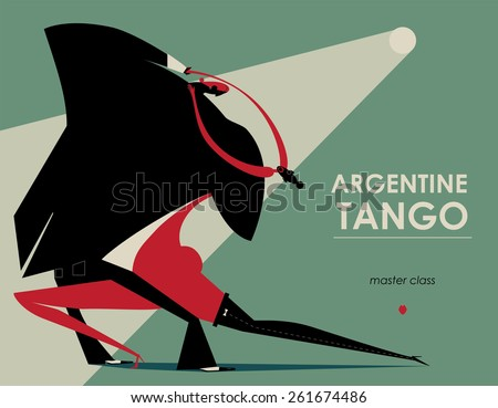 man and woman dancing tango on the moonlight - stock vector