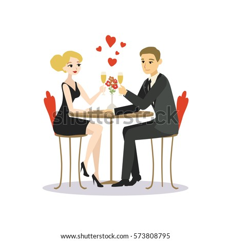 stock vector man and woman dinner in a restaurant lovers couple cartoon vector illustration 573808795