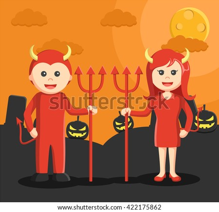 man and woman dressed as a devil in halloween - stock vector
