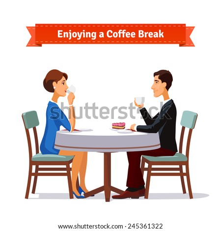 Man and woman enjoying a coffee break an some cake. Flat style illustration or icon. EPS 10 vector. - stock vector
