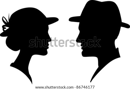 man and woman face profile silhouette, vector male female couple - stock vector