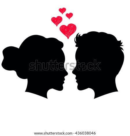 Man and woman face silhouette on white background.