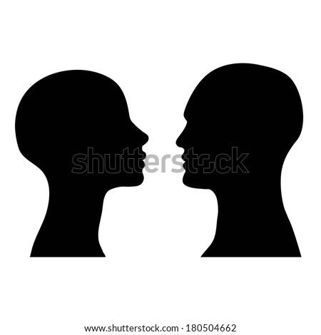 man and woman faces vector profiles - stock vector