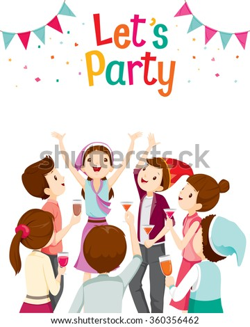 Man And Woman Fun In Party, Corporate Party, Banquet, Feast, Company, Celebration - stock vector