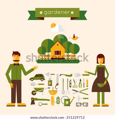 Man and woman gardeners standing with their garden tools. Environmental activities. Gardening icons set. The gardener's house. Home and garden. Modern flat style. Vector illustrations.  - stock vector