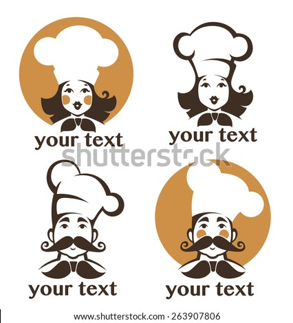 man and woman happy chef - stock vector
