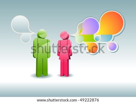 Man and woman having a discussion. Vector illustration. - stock vector