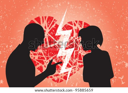 Man and woman having break up. Image showing broken heart on a grunge background. - stock vector