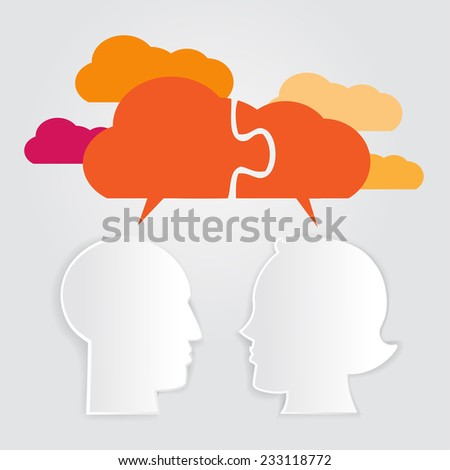 Man and woman head shapes with cloud silhouette - stock vector
