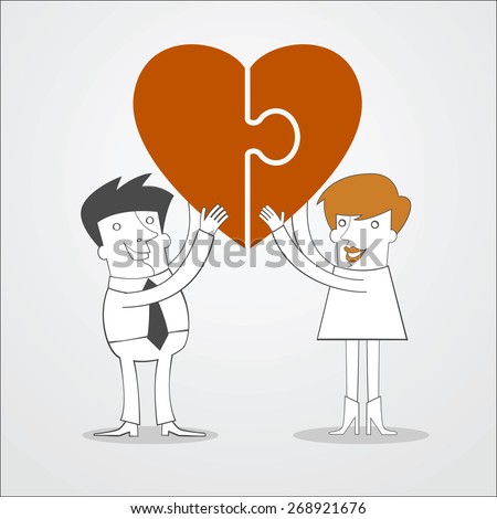 Man and woman hold puzzle in the form of heart in his hand. Love concept - stock vector