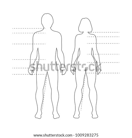 man and woman human body silhouettes with pointers vector isolated outline infographic figures