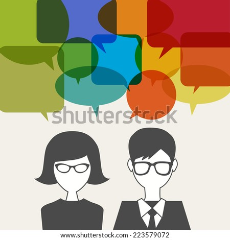 man and woman icon with speech balloons - stock vector