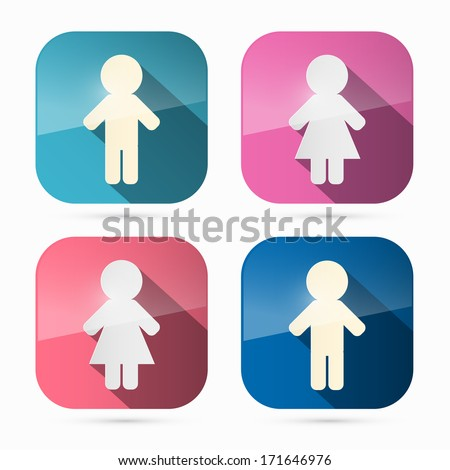 Man and Woman Icons, Symbols in Rounded Squares - stock vector