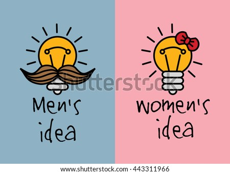 Man and woman ideas creative fun color icons. Color vector illustration. EPS8