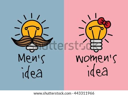 Man and woman ideas creative fun color icons. Color vector illustration. EPS8 - stock vector