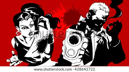 man and woman in black suits with a weapon, vector, illustration