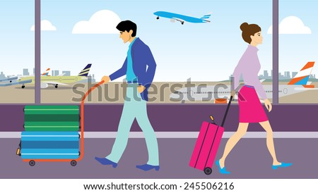man and woman in business casual outfit walking pass each other at airport transit.  - stock vector